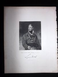 After Lawrence 1846 Antique Portrait Print. Thomas Graham, Baron Lynedoch